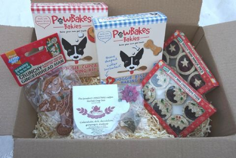 CHRISTMAS DOG TEA PARTY GIFT HAMPER WITH FESTIVE TREATS AND BAKING KITS